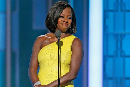 This image released by NBC shows Viola Davis presenting the Cecil B. DeMille Award at the 74th Annual Golden Globe Awards at the Beverly Hilton Hotel in Beverly Hills, Calif., on Sunday, Jan. 8, 2017. (Paul Drinkwater/NBC via AP)